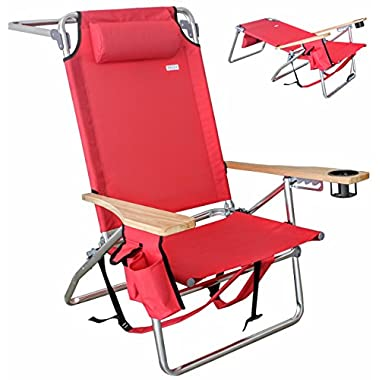 Vallf Deluxe Premium & High-End Beach Chair Lightweight Aluminum Lay-Flat Pillow Backpack Oversized with High Seat & High Back Phone Pouch and Drink Holder