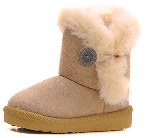 Femizee Toddler Girls Boots Warm Winter Snow Boots for Kid Boys Flat Button Size 6.5 Toddler,Beige 24