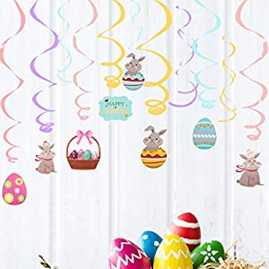 CUTE EASTER PARTY DECORATION: Wanting to spice up your party with something distinct and unique party décor? Make your event impressive with these easter party supplies, everyone will love them. 16 swirls and cutouts per pack Made of foil and paper A...