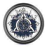 DYCBNESS Reloj de Pared,Nudo Celta Azul y Blanco con tridentes Bosque y montañas Cultura escandinava Decorativos Silencioso Reloj de Cuarzo No-Ticking Funciona con Pilas,para decoración del hogar