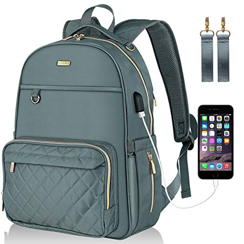 Landici Diaper Bag Multifunction Waterproof Travel Backpack Nappy Changing Pad Storage Bag for Mom Dad Baby Boy Girl with Ipad Compartment,Insulated Pockets,USB Charging Port,Stroller Straps,Dark Gray