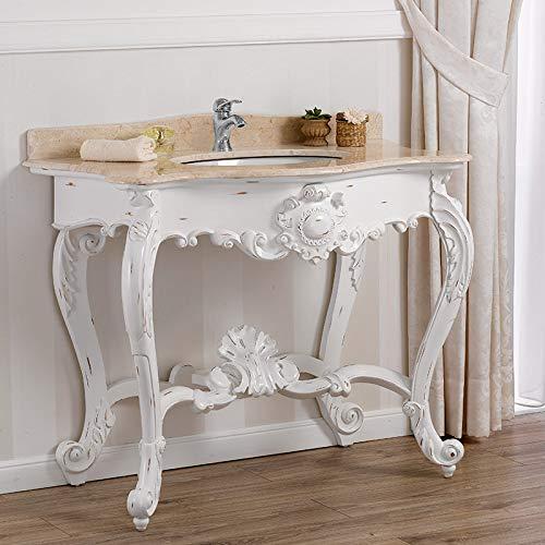 SIMONE GUARRACINO LUXURY DESIGN Console Salle de Bain Luigi Filippo Meuble-lavabo Style Shabby Chic Meuble Blanc Vieilli marbre crème