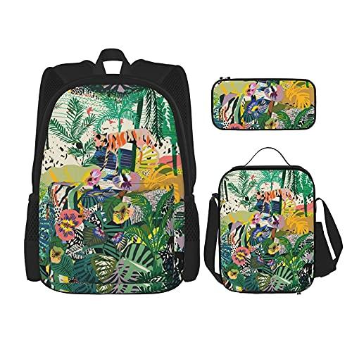 Fantasy colorato zaino tropicale unico ultra morbido viaggio zaini isolato pranzo box astuccio per ragazzi ragazze 3 pezzi set