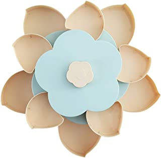 Double Layer Candy and Nut Serving Container, Petal-Shaped Rotating Snack Serving Tray 10 Variety Mixed Nut Assortment Tray, Food Storage Organizer, Divided Snack Platter(Blue)