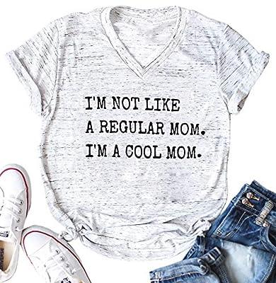 FAYALEQ I'm Not Like A Regular Mom I'm A Cool Mom Funny T-Shirt Women's V-Neck Tops Tee