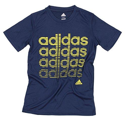 adidas Youth Big Boys Athletic T-Shirt (Medium (10-12), Navy/Yellow)