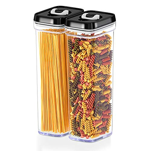 DWËLLZA KITCHEN Airtight Food Storage Containers with Lids – Same Size 2 Piece Set - Tall Air Tight Pantry Kitchen Clear Container for Spaghetti Noodle and Pasta - Keeps it Fresh Dry Black Lid