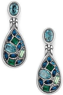 Brighton B You Green an Blue Crystal Silver Post Drop Earrings