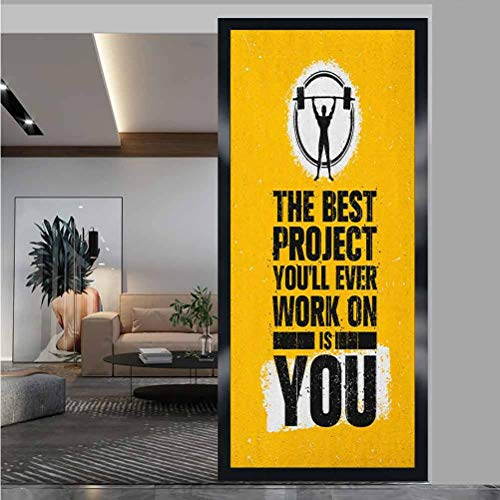 """W 17.7"""" x L 35.4"""" Privacy Window Film Opaque Non UV Window Sticker for Bathroom Bedroom Living Room,The Best Project is You Phrase with Weightlifter Fit Body Concept Marigold Dark Blue White"""