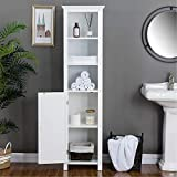 Glitzhome 68' H Wooden Free Standing Bathroom Tower, Storage Cabinet with Adjustable Shelves with Door Space Saving Floor Organizer Rack Home Storage Furniture, White