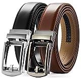Click Belts for Men Comfort 2 Packs 1 1/8', CHAOREN Ratchet Dress Belt with Adjustable Slide Buckle, Trim to Fit in Gift Set