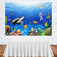 水中タートルウミガメ魚ショールサンゴの背景キッズバースデーパーティーデコレーションルームスタジオ写真の背景-300X250CM