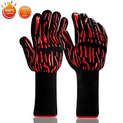 WOTEK barbecuehandschoenen, hittebestendige ovenwanten tot 800 graden 34 cm lang, grillhandschoen, kookhandschoenen, vuurvaste handschoenen, barbecuehandschoenen, hittebestendige handschoenen