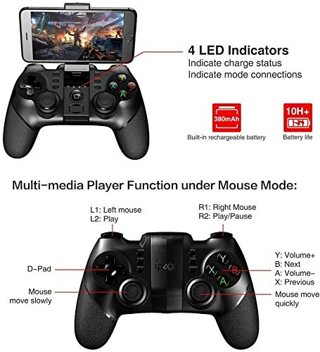 Yppss Gamepad-Bluetooth-Gamepad Gamepad-Controller Mobil-Trigger Joystick, Geeignet for Android Smartphone PC (Farbe: Schwarz) Eternal (Color : Black)