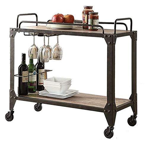 HIGHKAS Getränkewagen Bar Servierwagen 2-stufig, rustikaler Küchenbarwagen, antike Metallrahmen, Weinfachgestell mit universellen Lenkrädern für das Esszimmer in der Küche