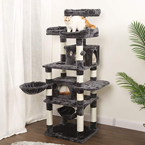 WLIVE Kratzbaum für große Katzen, 170 H x 60 B x 50 T cm, Katzenkratzbaum, Kletterbaum mit Sisal-Kratzstangen, Hängematte, Plüsch-Sitzmulden, einem Korb und 2 Spielhäuser, Dunkelgrau