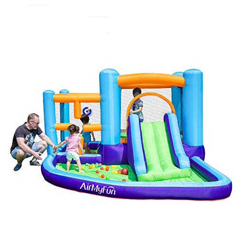 AirMyFun Bounce HouseToddler Inflatable Bounce House with Blower Castle Bouncer Slide Large Jump Play AreaBouncy Castle Repair Patches and Storage Bag