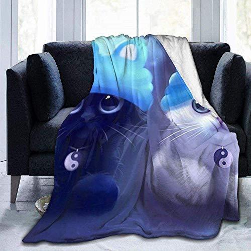 Manta de forro polar, diseño de gatos en el sombrero azul, ligera, supersuave, cálida, cómoda, manta de forro polar para sofá, cama, sofá o sillón, 152 x 127 cm