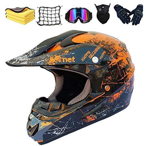 Casco de motocross, todo terreno, accesorios con gafas, máscara, guantes y ganchos para casco, para bicicleta de montaña, ciclomotor, seguridad deportiva (E,L (58-59 cm)