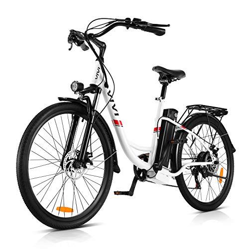 "VIVI 350W Elektrofahrrader Pedelec 26 Zoll Ebike Damen Herren City | 7-Gang | 36V 8Ah Akku Hollandrad Tiefer Einstieg Elektrofahrräder Mountainbike (26"" -Weiß)"