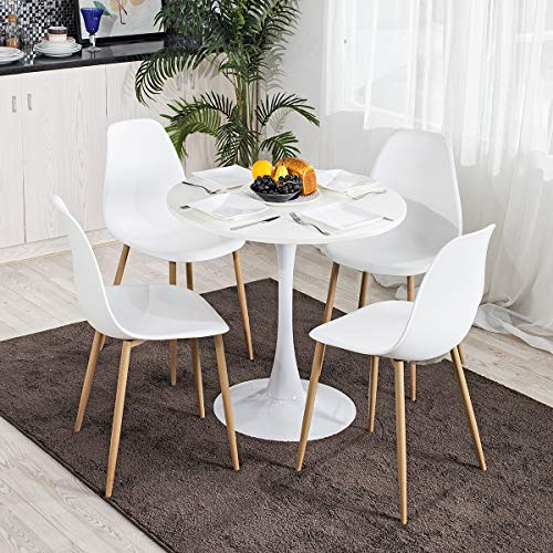 HOMYLIN Dining Set -Round White Dining Table with 2 Dining Chairs, Kitchen Table Yellow Dining Chair Set for Dining Room Outside Garden