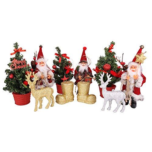 Christmas Glittering set di 10decorazioni da appendere in festival (Babbo/renna/albero di Natale/stivali inclusi) Christmas Decorations