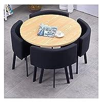 耐久性のあるテーブルと椅子のセット 表と椅子セットのバルコニーガーデンレジャークリエイティブ90センチメートル木製円卓ホームシンプルなライトダイニングモダンデザイン DYYD (Color : Black)
