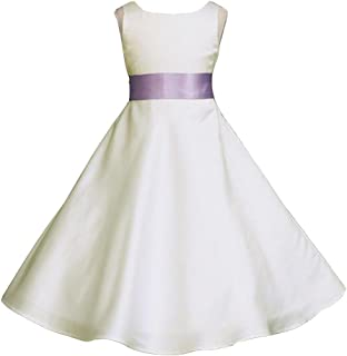 ivory flower girl dress purple sash