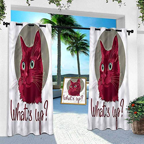 Aishare Store Pergola Outdoor Curtain Panel, Cat,Love Quote Cat Kitten, 52' x 95' Rustproof Extra Wide Grommet Top Indoor Outdoor Drape(1 Panel)