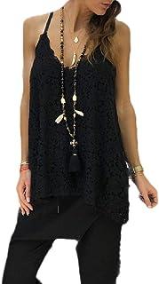 HTOOHTOOH Women's Fashion V Neck Tank Top Spaghetti Straps Blouse T Shirt