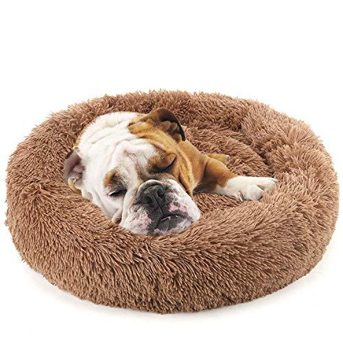 Sunshine smile Haustierbett Rundes Plüsch für Katzen und Hunde,hundebett in Doughnut-Form,plüsch hundesofa katzensofa,katzenbett plüsch,(50cm*50cm) (Brown)