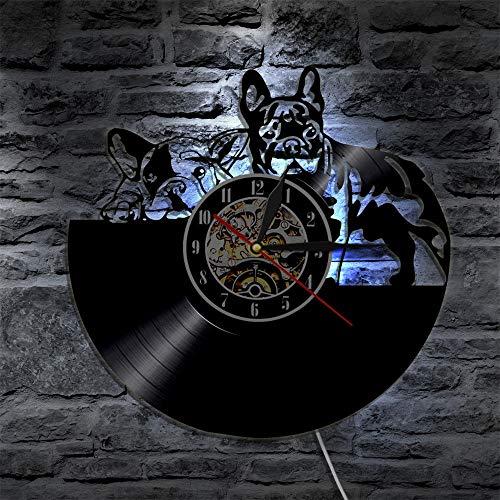 JXWH Decorazione Sveglia della casa dell'orologio da Parete dell'annotazione di Vinile del Retro Orologio di Cambiamento di Progettazione Moderna dell'orologio da Parete del Cane Sveglio