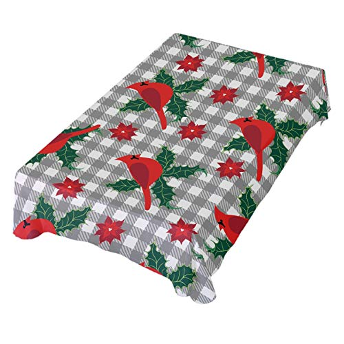 ALAZA Christmas Cardinal Bird Holly Leaf Poinsettia Flower Table Cloth Square 60 x 60 Inch Tablecloth Anti Wrinkle Table Cover for Dining Kitchen Parties