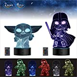2 Bases 4 Patterns Star Wars Gifts 3D Illusion Lamp - Star Wars Toys LED Night Light for Kids Room Decor,16 Color Changes, 2020 for Men Star Wars Fans Boys Girls Birthday Gifts