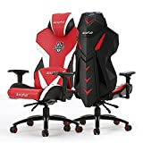 Gaming Chair, AutoFull Video Game Chair, Hihg-end PU Leather Reclining Gaming Red Chair for Adults with Pillow and Lumbar Cushion(1 Pack)