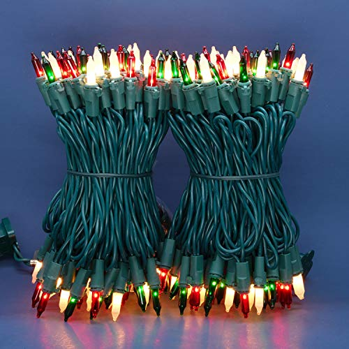 Red Green & Frosted White Incandescent Christmas Lights, 66 Ft Green Wire 200 Mini Lights, UL Certified Holiday String Light, End to End Connectable Commercial Grade Lights Set (Red Green & Frosted)