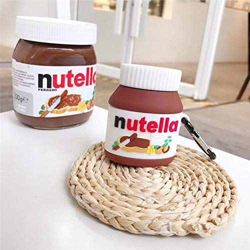 Per caso Airpod 2 Custodia per auricolare senza fili in silicone morbido Nutella 3D al cioccolato per Apple Per caso Airpods Pro Cover carina Funda + Ring, per Airpods 1 2