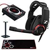 Sennheiser GSP 500 USB PC Gaming Headset with GSX 1000 7.1 Surround Sound Gaming Audio Amplifier (PC & Mac), Large Extended Gaming Mouse Pad and Headphone Stand Bundle