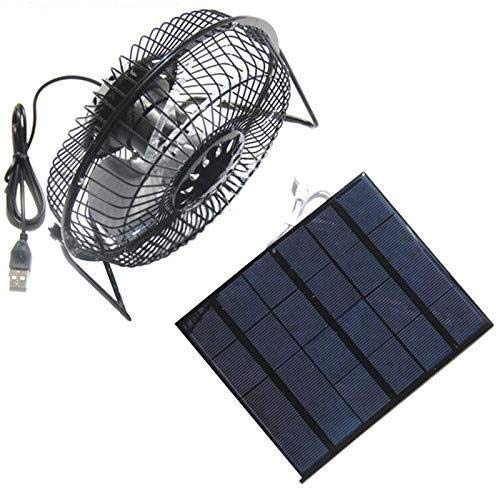 JINKEBIN Fan de USB de USB Ventilador del Hierro 6inch de enfriamiento de ventilación Ventilador + 3.5W del Panel Solar Cargador de energía for Viajar al Aire Libre Pesca Ministerio del Interior