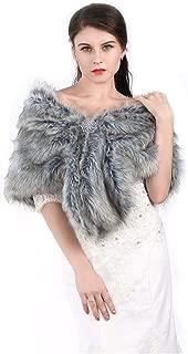 Aukmla Women's Faux Fur Shawls and Wraps Wedding Faux Fox Fur Stole Bridal Fur Scarf for Bride and Bridesmaids
