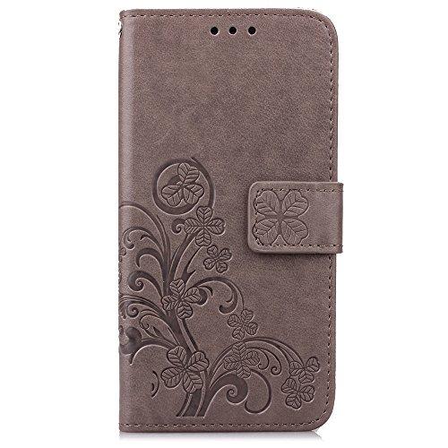 ISAKEN Compatibile con Samsung Galaxy S3 Mini Cover, Custodia in Pelle PU, Supporto Stand e Porta Carte Integrati Portafoglio Flip Custodia di Pelle Case Flip Stile Libro Cover - Fiori: Grigio