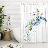 XCMMK 3D Duschvorhang aus Polyester mit 12 Duschvorhangringe für Badezimmer Farbige Schildkröte wasserabweisend & Anti-Schimmel waschbare badvorhang (180 x 180 cm)