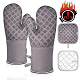 Homemaxs Oven Mitts and Pot Holders 4pcs Set Heat Resistant up to 482F/250°C Non-Slip Food Grade Kitchen...