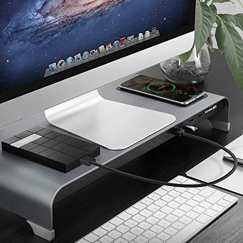 FANGX Aluminium Monitor Stand Riser With Wireless Charger And 4 USB Ports,Non-Slip Keyboard And Mouse Stand,For Laptop,PC,TV,Printer,Fax Machine,Tablet,IMac,Notebook,Up To 30KG