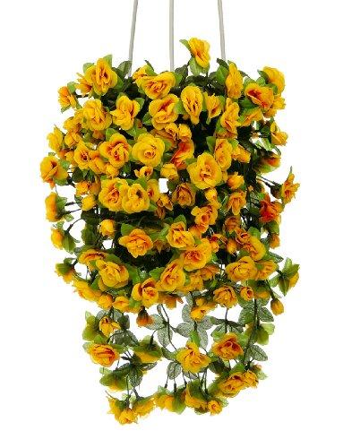 McPalms Rosen gelb hängend 50 cm Kunstpflanze Kunstblume