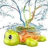 Dihope Aspersor de agua para niños, de verano, con 6 mangueras, aspersores, tortuga, juguete de pulverización de agua para jardín, césped, exterior (verde, 22 x 23 x 9 cm)