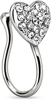 Heart with Gems Clip On Nose Ring Fake Non No Piercing 17GA