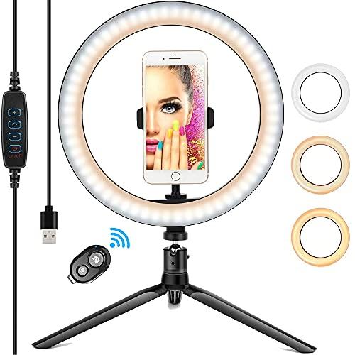 Anillo de luz LED, Aro de Luz y Trípode 3 Colores Modo 12 Brillos Regulables, Selfie Ring Light LED Rotación de 360° para Movil TIK Tok, Maquillaje, Selfie, Streaming, Youtube