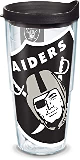 Tervis 1231144 NFL Oakland Raiders Stripe Tumbler with Wrap and Black with Gray Lid 24oz Water Bottle Clear