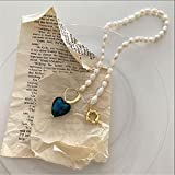 Collane di Perle Naturali Irregolari retrò Barocche per Le Donne Collana di Girocolli con Ciondolo A Cuore in Vetro di Colore Verde Blu, Gioielli da Sposa